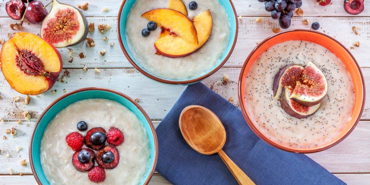 Morning breakfast with porridge, fruit and poppy seads
